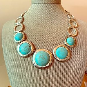 Jewelry - Simulated Silver and Turquoise Necklace
